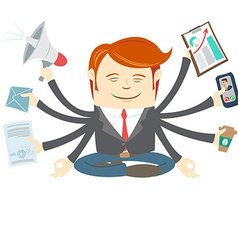 Office man with eight hands meditating in the vector
