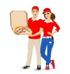 pizza delivery guy and girl in red uniform vector image vector image