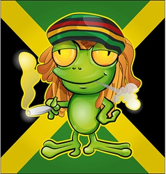 Rastafarian frog cartoon on jamaican flag vector