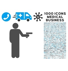 Robber With Gun Icon with 1000 Medical Business vector image