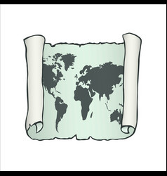 sheet of parchment paper with world map on vector image
