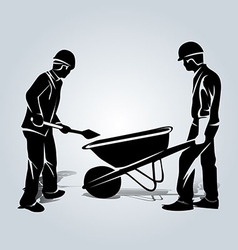 Silhouette of two workers vector image