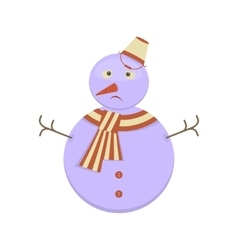 Snowman with sad face vector