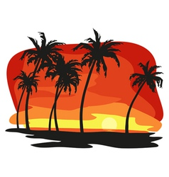 sunet palms vector image vector image