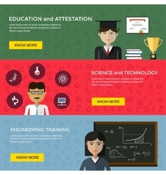 Web banners for education and science vector image