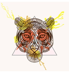 Zentangle stylized tiger face in triangle frame vector