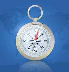 Compass on the world map background vector image