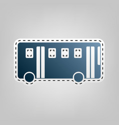 Bus simple sign  blue icon with outline vector