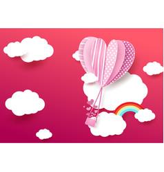 Paper art style heart shape balloon flying vector