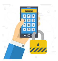 Phone with a password for secure login vector