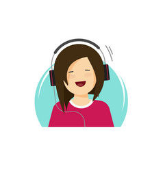 girl in headphones listening music and smiling vector image