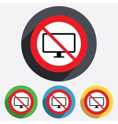 No computer widescreen monitor sign icon vector