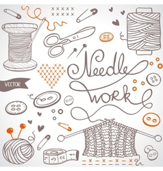 Needlework set vector