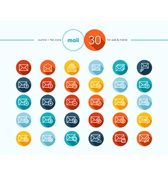 Emailing flat icons outline style set vector