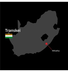 Detailed map of transkei and capital city mthatha vector