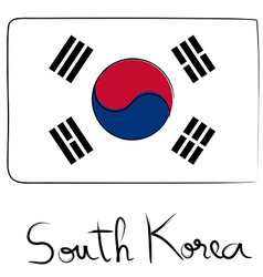 South Korea flag doodle vector image