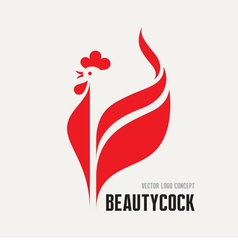 Beauty cock - rooster logo concept vector