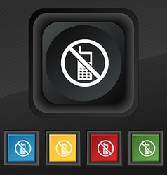 Mobile phone is prohibited icon symbol set of five vector