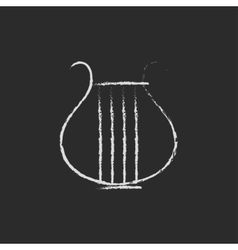 Lyre icon drawn in chalk vector image