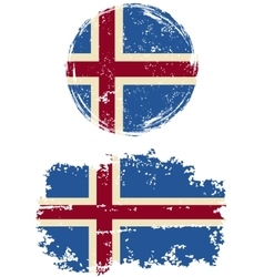 Icelandic round and square grunge flags vector