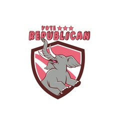 Vote republican elephant mascot shield cartoon vector