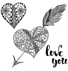 Love You Set of doodle hearts vector image