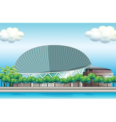 A stadium surrounded with trees vector