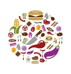 Barbecue icons in circle vector