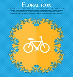 Bicycle icon sign floral flat design on a blue vector