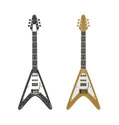 black and retro color electric guitar set vintage vector image