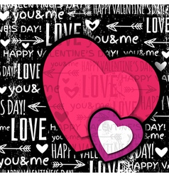 black background with red valentine heart vector image vector image