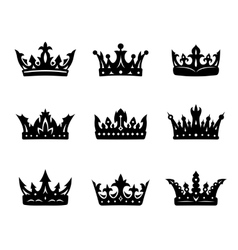 Black heraldic royal crowns vector image vector image