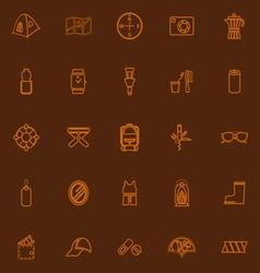 Camping necessary brown line icons vector