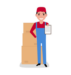 cartoon delivery man with cardboard boxes vector image
