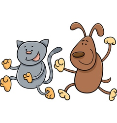 Cat and dog playing tag cartoon vector