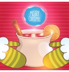 Christmas card with mulled wine and santa vector