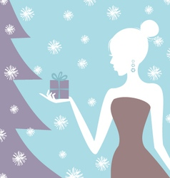 christmas gift girl vector image