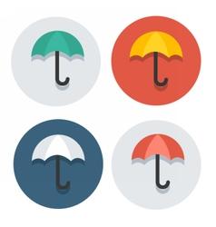 circle flat icon collection umbrella vector image