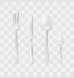 cutlery set silver fork spoon and knife top vector image