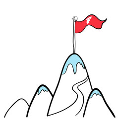 Flag on top of mountain in business concept vector
