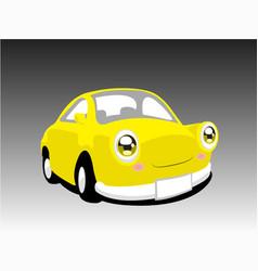 funny yellow car vector image vector image