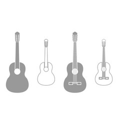 Guitar grey set icon vector