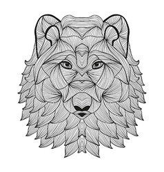 Hand drawn decorative wolf vector