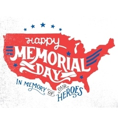 Happy memorial day hand-lettering greeting card vector