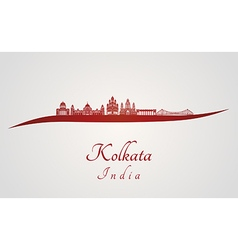 Kolkata skyline in red vector image vector image