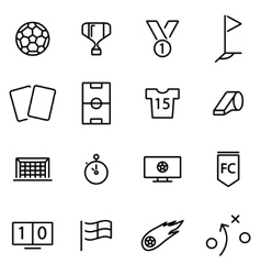 line soccer icon set vector image