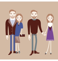 Man and woman holding hands Fashionable couple vector image vector image