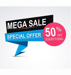 Mega sale origami paper banner discount vector