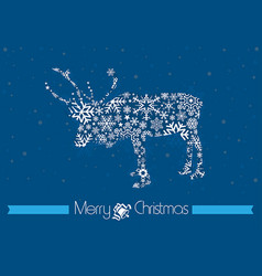 merry christmas background with rain deer vector image