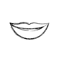 Monochrome blurred silhouette of lips smiling vector